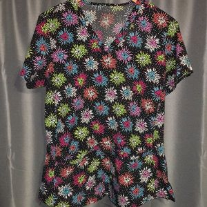 Med couture polyester blend scrub top fireworks